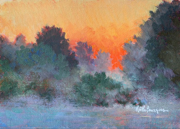 Impressionism Greeting Card featuring the painting Dawn Mist by Keith Burgess