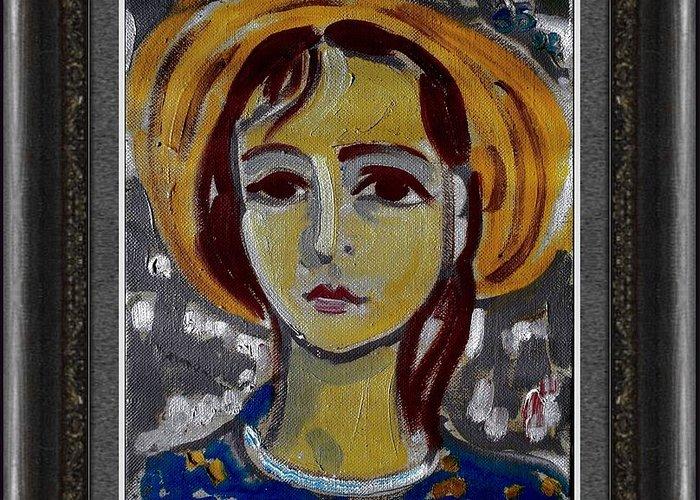 People Greeting Card featuring the painting Desislava by Zdravko Batembergski