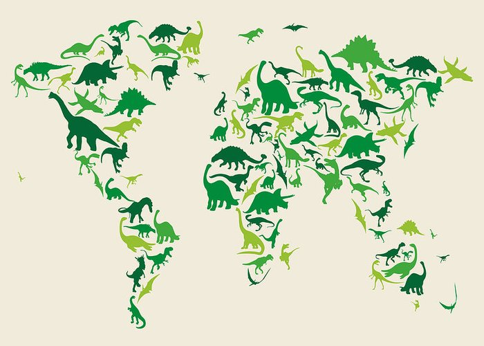 World Map Greeting Card featuring the digital art Dinosaur Map Of The World Map by Michael Tompsett