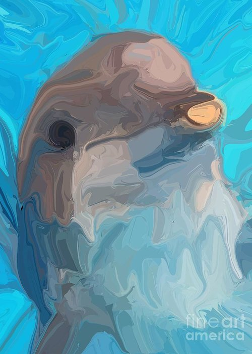 Dolphin Greeting Card featuring the digital art Dolphin by Chris Butler