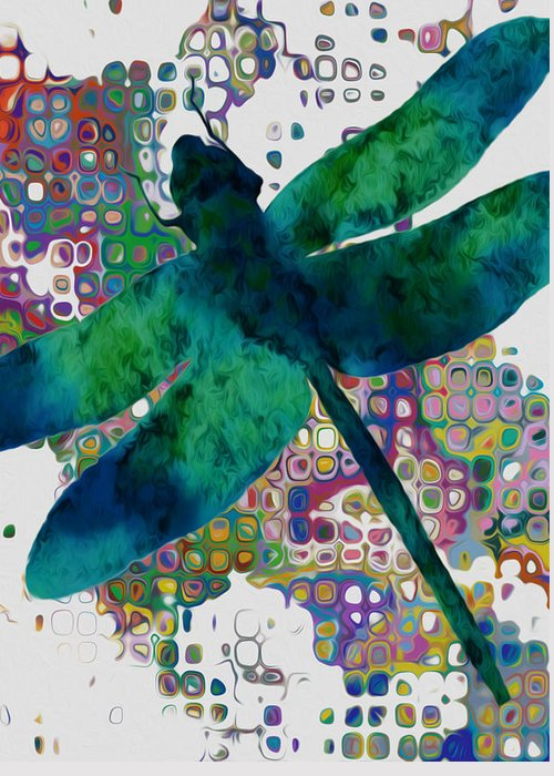 Dragonfly Greeting Card featuring the painting Dragonfly by Jack Zulli