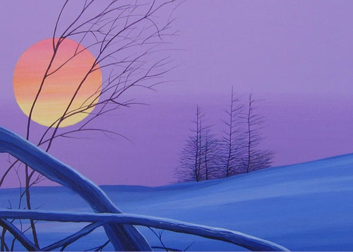 Mountains Greeting Card featuring the painting Silent Snow by Hunter Jay