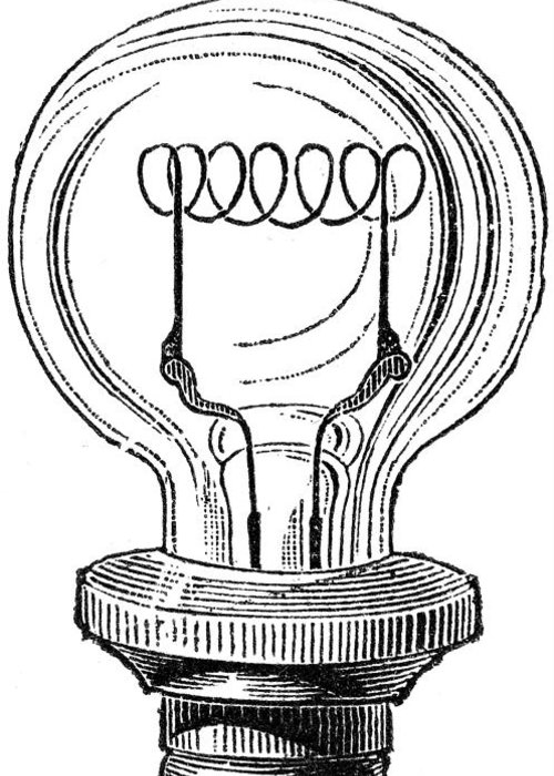 19th Century Greeting Card featuring the photograph Edison Lamp, 19th Century by Granger