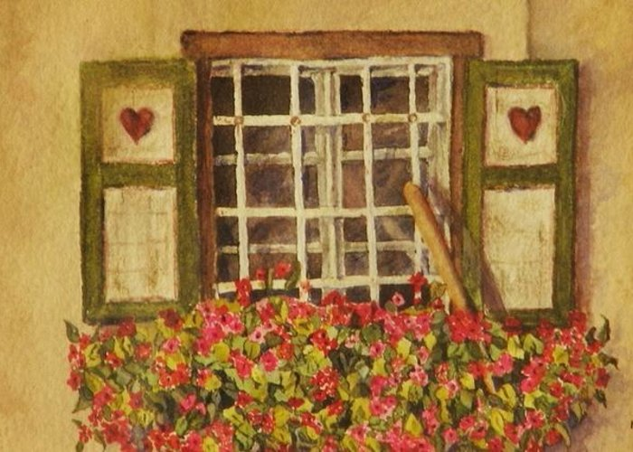 Rural Greeting Card featuring the painting Farm Window by Mary Ellen Mueller Legault
