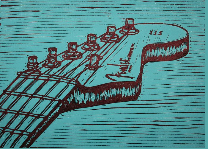 Fender Greeting Card featuring the drawing Fender Strat by William Cauthern