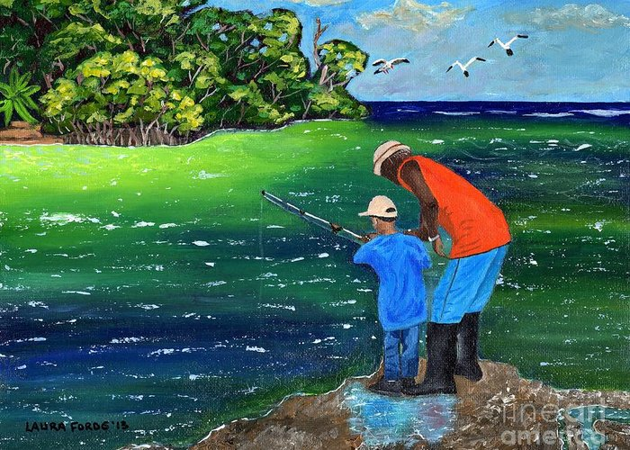 Seascape Greeting Card featuring the painting Fishing Buddies by Laura Forde