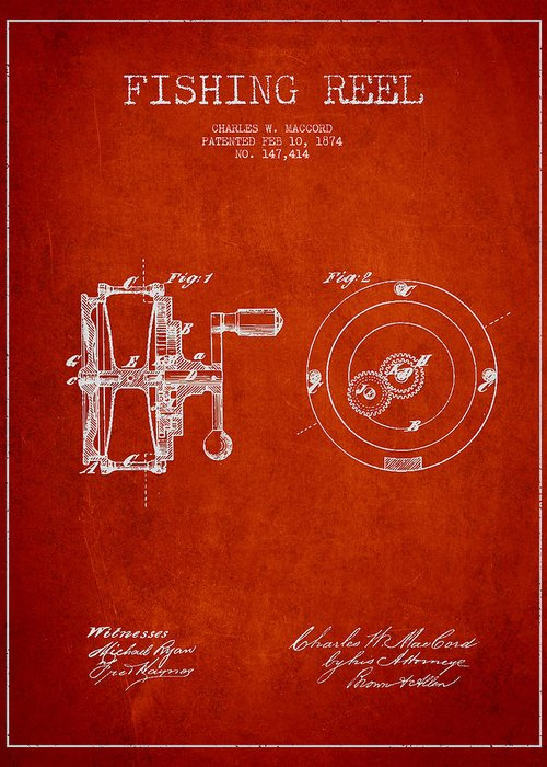 Fishing Reel Greeting Card featuring the drawing Fishing Reel Patent From 1874 by Aged Pixel