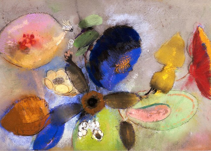 Still Life; Flower Greeting Card featuring the painting Flowers by Odilon Redon