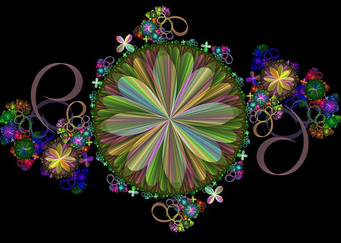 Fractal Greeting Card featuring the digital art Flowers by Sandy Keeton