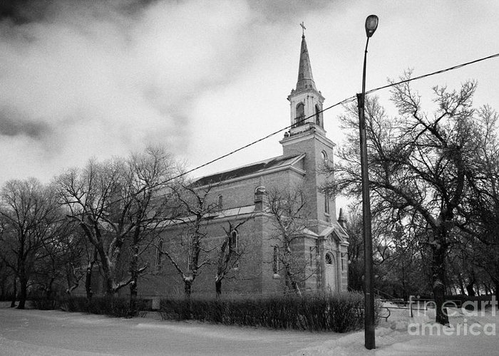 Former Greeting Card featuring the photograph former st josephs catholic church in Forget Saskatchewan Canada by Joe Fox