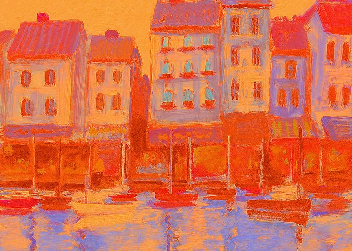 Harbor Greeting Card featuring the painting French Harbor by J Reifsnyder