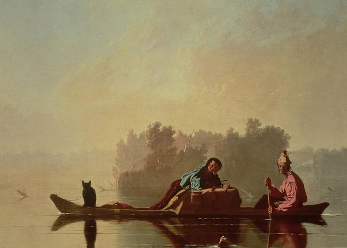 Canoe; Cat; Paddle; River; Barge; Boat; Trader; Merchant; Seller; Vendor; Trade; Transport; American Landscape; Frontier; French Settlers Greeting Card featuring the painting Fur Traders Descending The Missouri by George Caleb Bingham