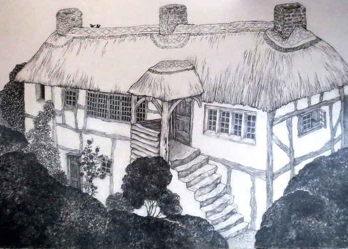 Garden Cottage Greeting Card featuring the drawing Garden Cottage by Diane Fine