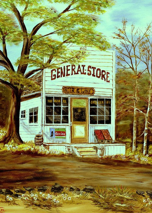 Landscape Greeting Card featuring the painting General Store 1902 by Kenneth LePoidevin