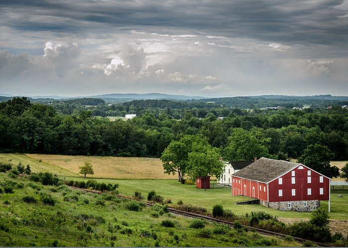 Battlefield Greeting Card featuring the photograph Gettysburg Barn by Pat Scanlon