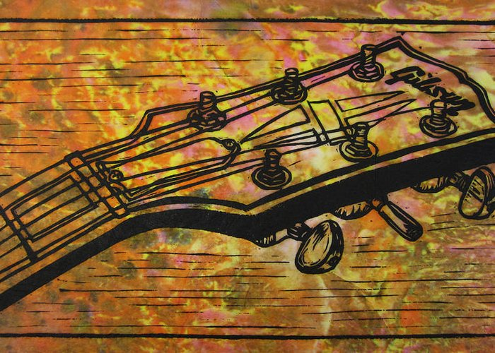 Les Paul Greeting Card featuring the drawing Gibson by William Cauthern