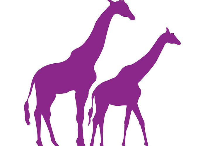 Graphic Art Greeting Card featuring the digital art Giraffe In Purple And White by Jackie Farnsworth