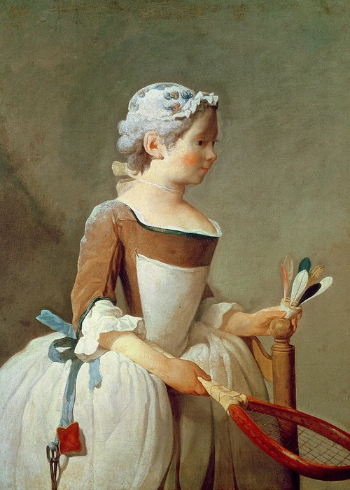 Girl With Racket And Shuttlecock Greeting Card featuring the painting Girl With Racket And Shuttlecock by Jean-Baptiste Simeon Chardin