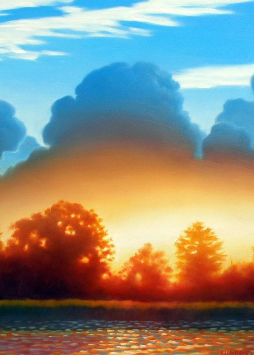 Sunset Greeting Card featuring the painting Glowing by Kevin Lawrence Leveque