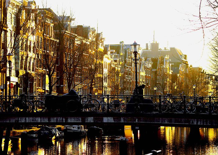 Amsterdam Greeting Card featuring the photograph Golden Amsterdam by Silke Brubaker