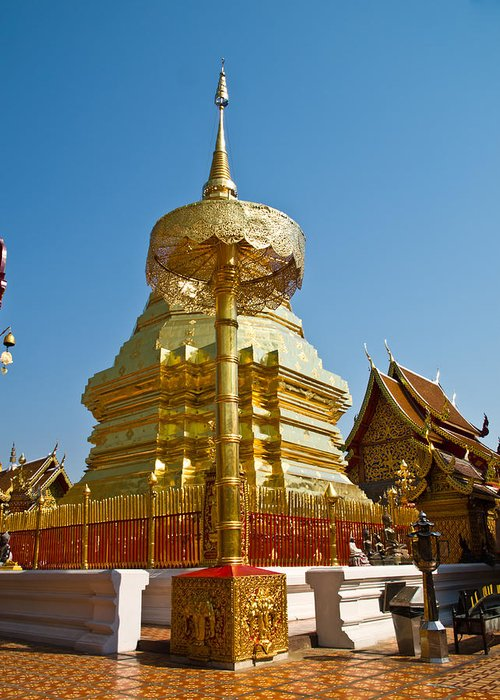 Architecture Greeting Card featuring the photograph Golden Pagoda And Umbrella Wat Phrathat Doi Suthep Temple by Ammar Mas-oo-di