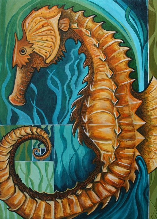 Seahorse Greeting Card featuring the painting Golden Seahorse by Kate Fortin
