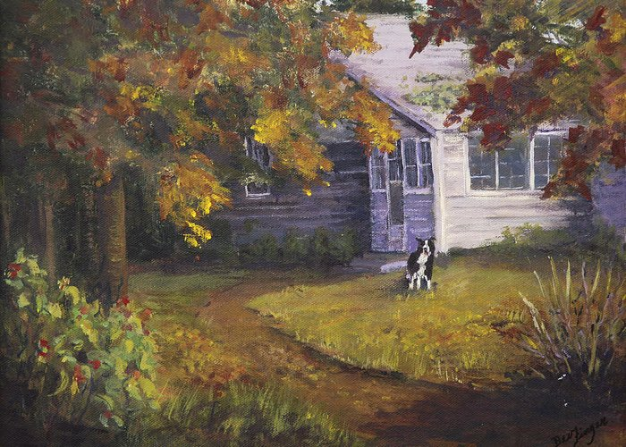 Rural America Greeting Card featuring the painting Grandma's House by Bev Finger