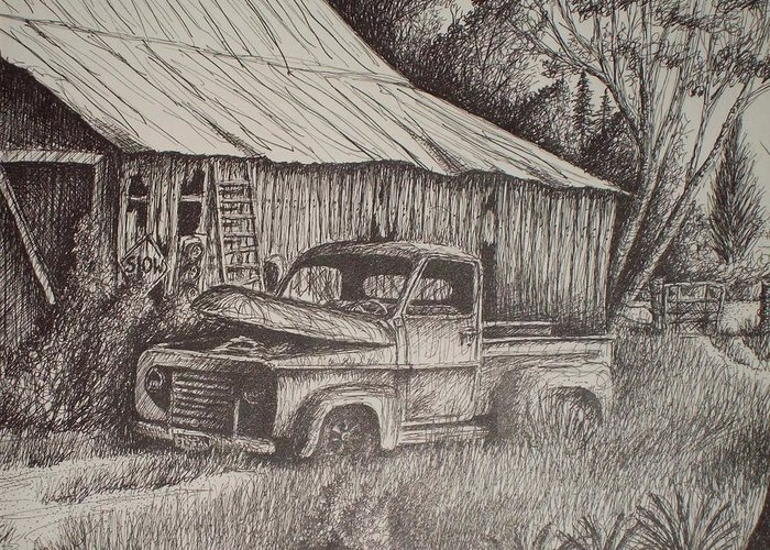 Grandpa's Old Barn With Chevy In Teaxs Greeting Card featuring the drawing Grandpa's Old Barn With Chevy Truck by Chris Shepherd