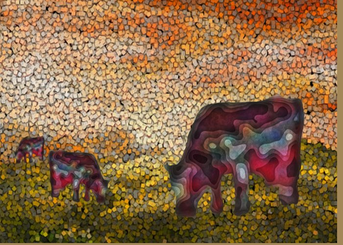Digital Greeting Card featuring the painting Grazing by Jack Zulli