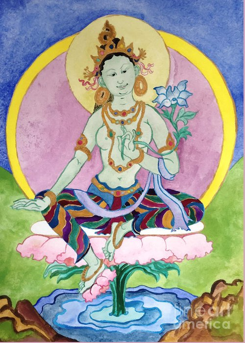 Green Tara Greeting Card featuring the photograph Green Tara 13 by Jeelan Clark