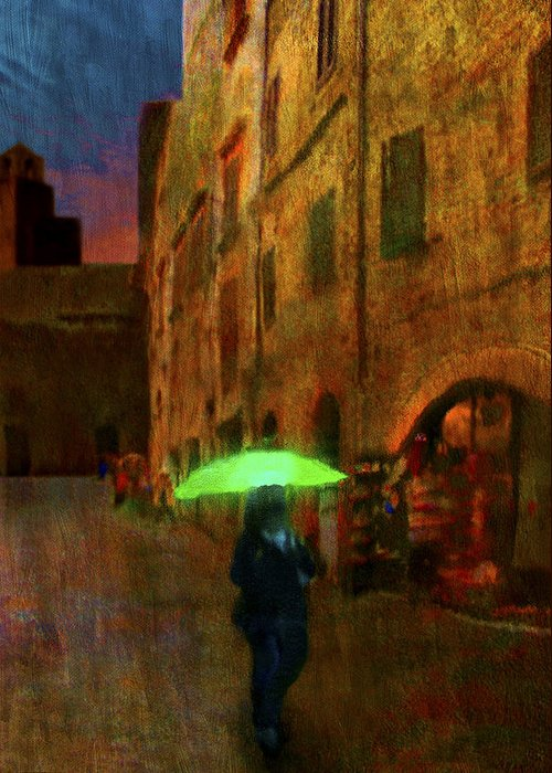 Umbrella Greeting Card featuring the painting Green Umbrella by Patrick J Osborne