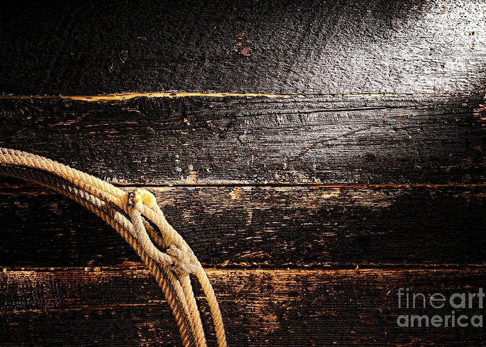 Cowboy Greeting Card featuring the photograph Grunge Lasso by Olivier Le Queinec