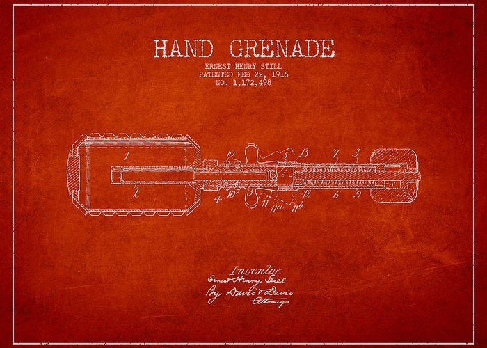 Grenade Greeting Card featuring the digital art Hand Grenade Patent Drawing From 1916 by Aged Pixel