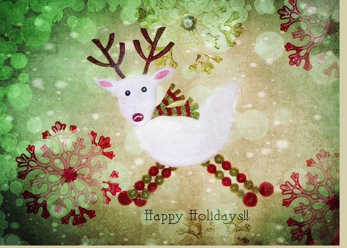 Reindeer Greeting Card featuring the photograph Happy Holidays by Rebecca Cozart