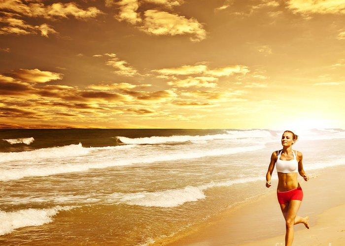 Active Greeting Card featuring the photograph Healthy Woman Running On The Beach by Anna Om