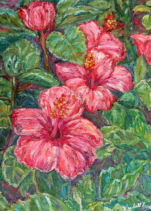Hibiscus Greeting Card featuring the painting Hibiscus by Kendall Kessler