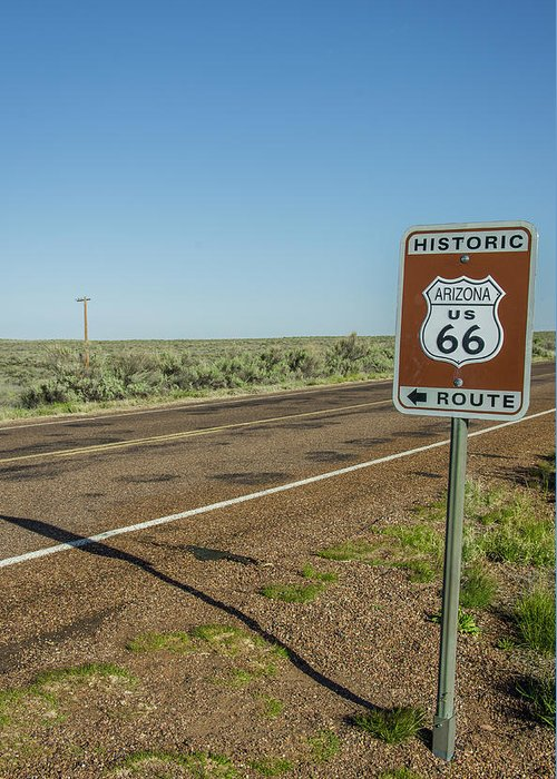 Antique Greeting Card featuring the photograph Historic Old Route 66 Passed by Jerry Ginsberg
