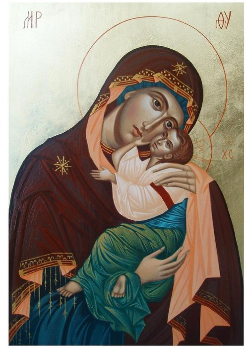 Our Lady Greeting Card featuring the painting Holy Virgin Of Tenderness by Janeta Todorova