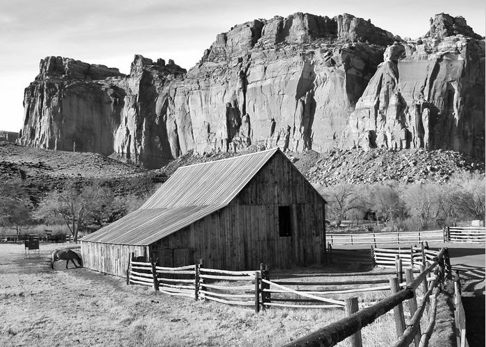 Horse Barn Greeting Card featuring the photograph Horse Barn In Fruita Utah by Jack Schultz