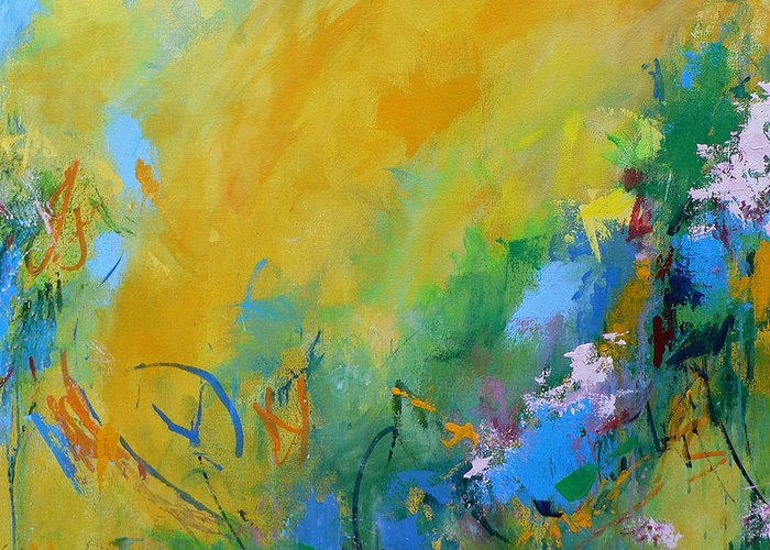 Abstract Greeting Card featuring the painting In the Garden by Jacquie Gouveia
