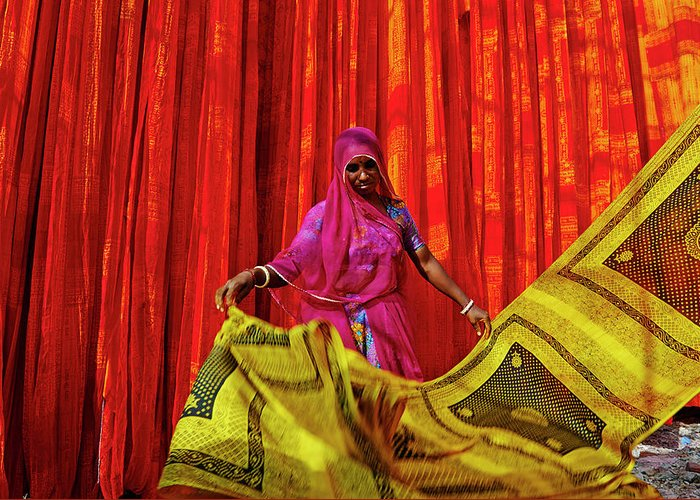 Working Greeting Card featuring the photograph India, Rajasthan, Sari Factory by Tuul & Bruno Morandi
