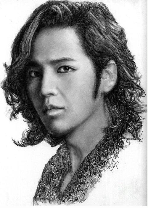 Actor Greeting Card featuring the drawing Jang Geun Suk by Carliss Mora