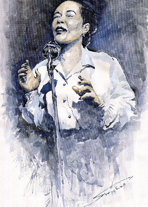 Watercolor Greeting Card featuring the painting Jazz Billie Holiday Lady Sings The Blues by Yuriy Shevchuk