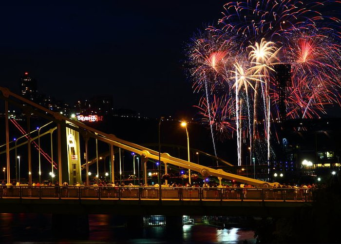 Pittsburgh Greeting Card featuring the photograph July 4th Fireworks In Pittsburgh by Jetson Nguyen