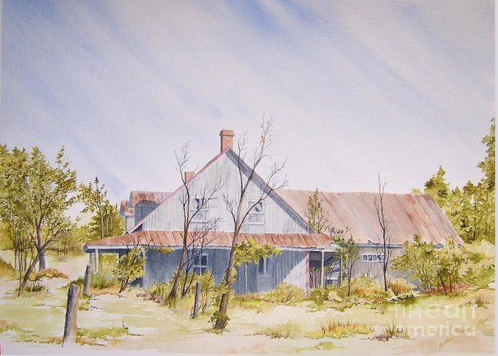 Old House Greeting Card featuring the painting Just A Memory by Jackie Mueller-Jones