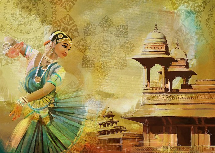 Pakistan Greeting Card featuring the painting Kathak Dancer by Catf