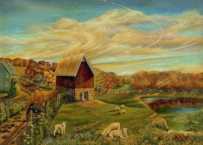 Landscape Greeting Card featuring the painting Kookaree by William Allen