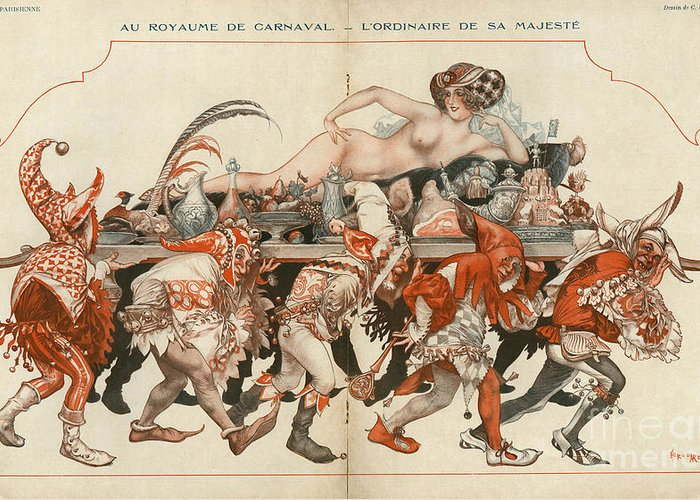 French Greeting Card featuring the drawing La Vie Parisienne 1926 1920s France by The Advertising Archives