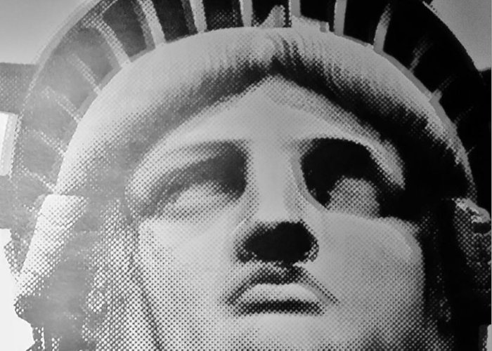 Statue Of Liberty Greeting Card featuring the photograph Lady Liberty In Black And White by Rob Hans