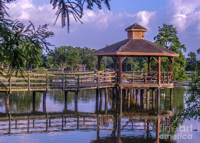 Landscape Greeting Card featuring the photograph Lafreniere Gazebo by Renee Barnes